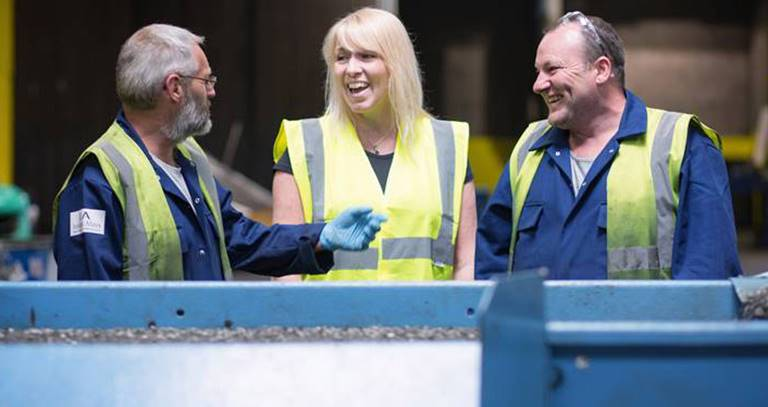 Rosie with Danny McKillop and Scott Dobbie at Ireland Alloys recycling centre in Hamilton