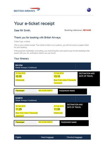 e-Ticket receipt example