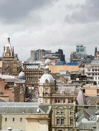 View over Glasgow city centre rooftops looking north
