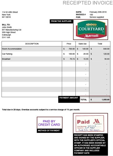 Example of a receipted invoice
