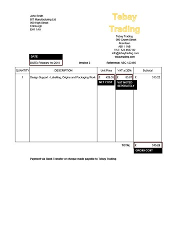 Example of an invoice